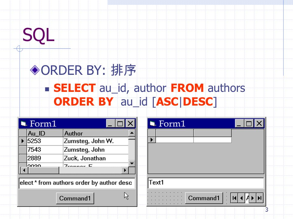 SQL ORDER BY: 排序 SELECT au_id, author FROM authors ORDER BY au_id [ASC|DESC]